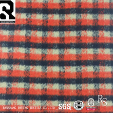 FW18 Plaid Plush 35% Wool 65% Polyester Woven Wool Blend Fabric For Coats