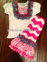 New innovative short sleeve shirt matching chevron leggings baby clothes washing machine