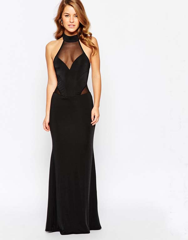 2016 sexy sleeveless Bodycon maxi Dress with Contrast Mesh black evening long dress