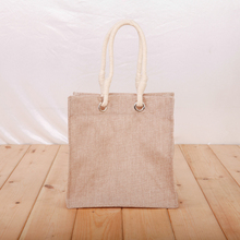 Folding wholesale mini grocery shopping tote jute bag