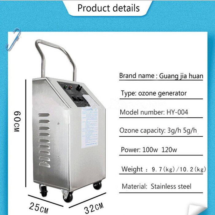 Portable and movable ozone generator for beauty salons pipe sterilization