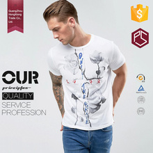 HongXiong Clothing casual style short sleeve 100%cotton softextile rose printed bulk white t-shirts