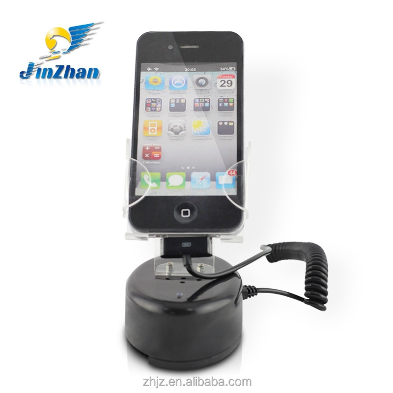 2017 low cost!mobile security phone desk holder/display stand for smart phone with alarm and charging functions