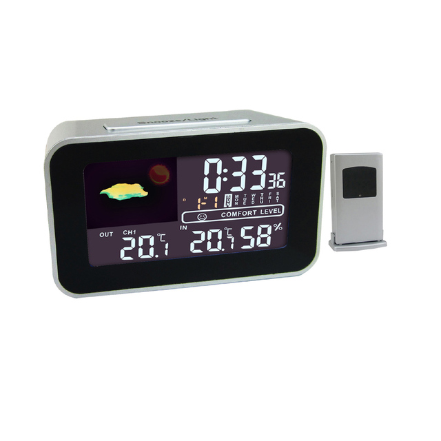 Action LCD Display Digital Snooze Alarm Clock with Weather Station