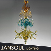 2015 european style modern red vintage multi color blue and yellow murano glass crystal chandelier made in zhongshan