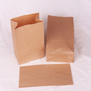Food grade take away brown craft square bottom paper bags with customization logo for food packaging