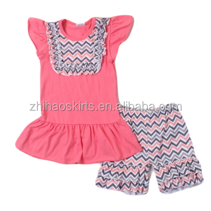 2016 new design summer toddler girl chevron outfits flutter sleeve top with shorts kids modeling clothes