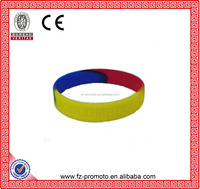 Various Silicone Wristbands in Different Approaches Colorful Silicone Wristband Raise Logo with 4 Segment Colors