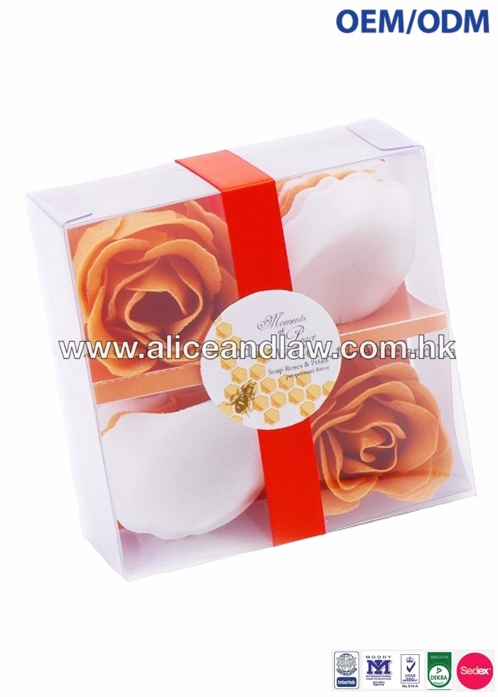 OEM/ODM Rose and Soap Petals Soap Flower in a Plastic Clear Box Bath Soap Flower