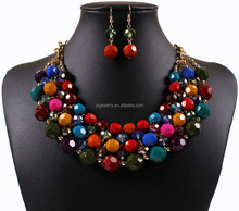 Europe and the United States necklace color beads necklace earrings Yiwu wholesale jewelry gold choker necklace
