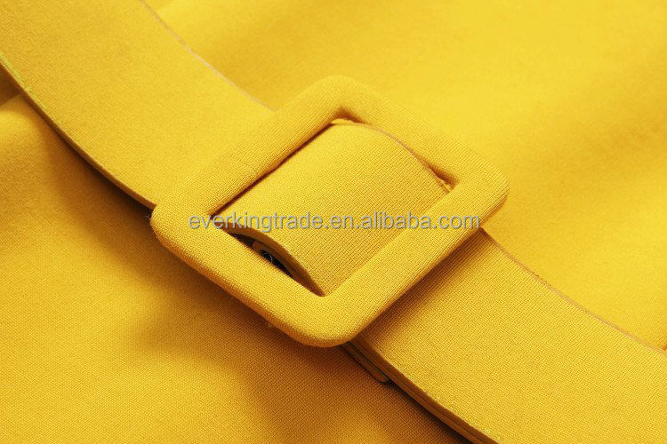 Hot Selling Fashion Causal Yellow Dress with belt for ladies