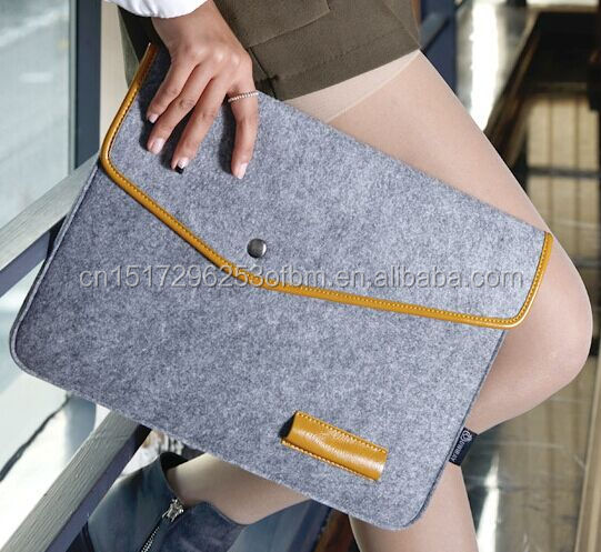 2016 New portable dark grey felt laptop carrying case with leather edge