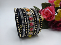 Stylish Crystal Beads Pattern Bangle Rhinestone Leather Bracelet Hot Drilling Handchain Personality Rivet Special Design
