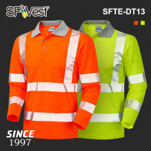 Wholesale 100 Polyester Microfiber Heat transfer Film Reflectors Uniform Security High Visibility Reflective Safety Polo Shirt