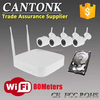 Top Sale! Home Security System 1080P 720P Wireless Wifi Kit 4 channel wireless NVR and IP kits