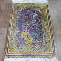 2'x3' Large purple oriental hand knotted handmade persian silk tapestries