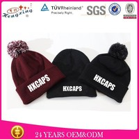 Custom Pom Pom Funny Wool Adult Fashion Jacquard Knitting Cap Wholesale
