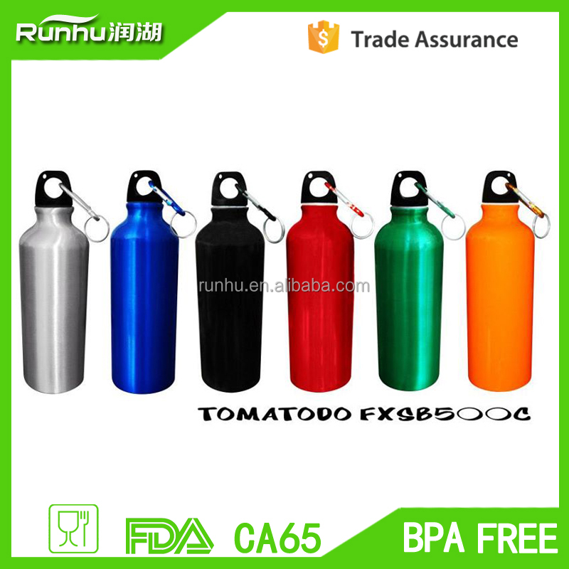 sports goods 750ml aluminium sport water bottles with a carabiner