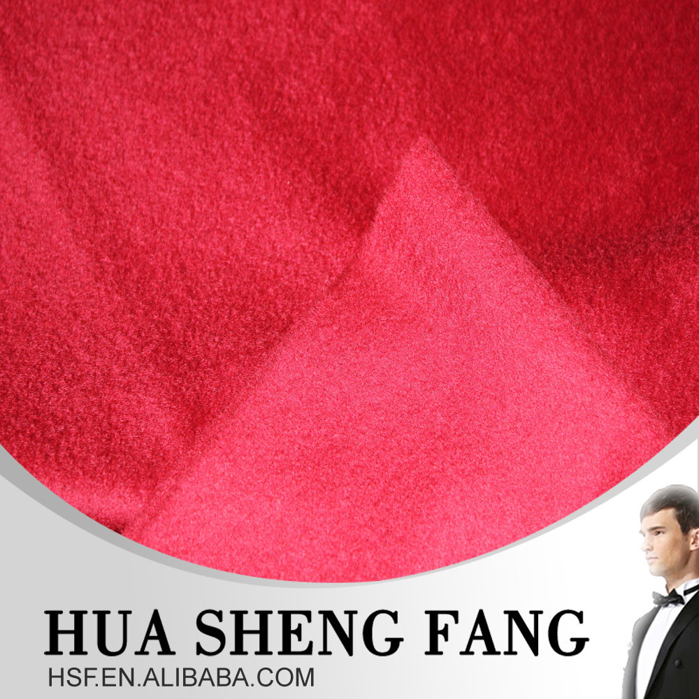 Ready Stock Stand Plush 100% Merino Red Wool Cloth For GuangZhou Coat