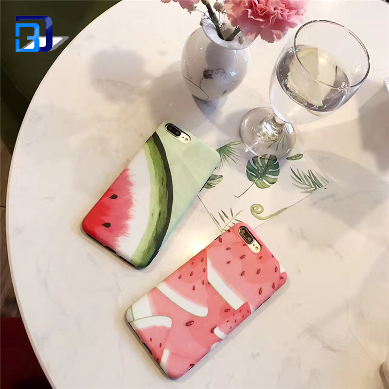Watermelon IMD Matt Slice Flexible Soft Silicone TPU Case Scratch Resistant Protective Case For iPhone 7 Case
