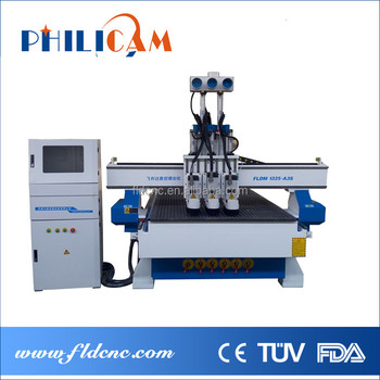 Three heads cnc wood machinery furniture making machine