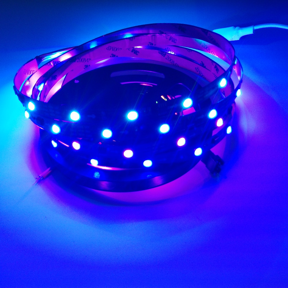 Non waterproof ip20 ws2811 RGB 5050 LED Strip DC12v Input / IP20 addressable ws2812