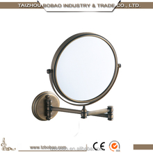Hot Sellings Bronze Brush 2X Gold Polish Copper Dual Arm Extend Antique Brass Framed 2-Face Bath Mirror