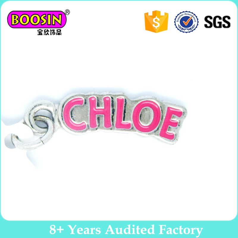 Wholesale custom logo enamel metal tag charms, company brand logo charm, promotion personalized letter word phrase tags #13132