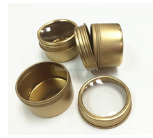 gold color screw top round tea tin can with clear pvc window