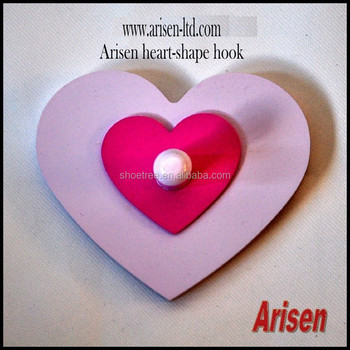 Arisen cream & pink heart-shape wall hook