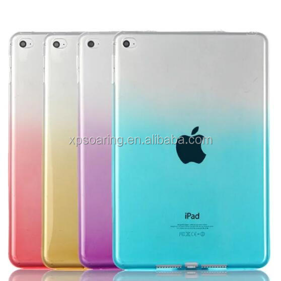 Color changed transparent tpu case back cover for iPad mini 4