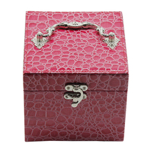 Marble pattern rose red leather jewellery presentation boxes