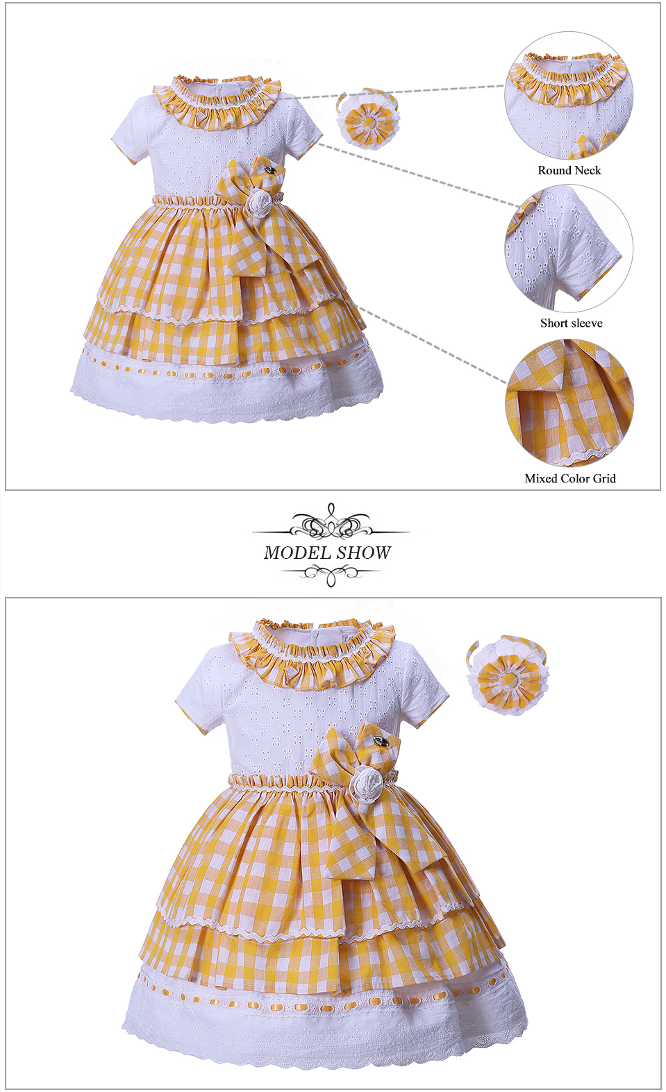 Pettigirl guangzhou children fashion clothes t shirt yellow girls easter dress