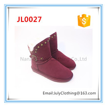 Factory Direct wine red Rivet snow boot ladies footwear pictures with fur trim