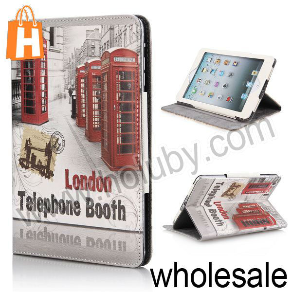 Fashionable London Telephone Booth Pattern Magnetic Cover Folio Stand Leather Case for iPad Mini/Retina iPad Mini