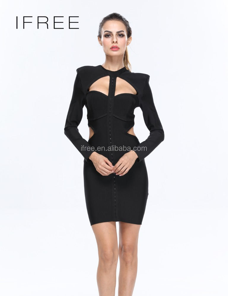 2017 new women black long sleeve hollow out bodycon sexy mother of the bride dress