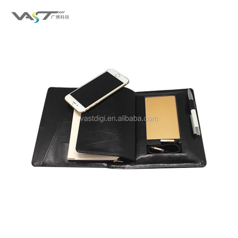 cooperation gift Novel design notebook with built-in power bank PU Leather notebook with built-in 2 in 1 cable power bank