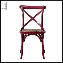 Red chair cover cross back oak chair