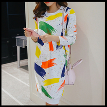 Maternity wear breastfeeding out fashionable graffiti jacket dress breastfeeding long-sleeved feeding breastfeeding