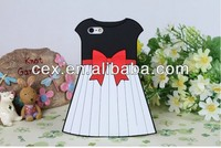 Italy skirt bowknot Princess girl cute dress skirt silicon gel Phone case cover skin rubber fashion shell for iPhone 4