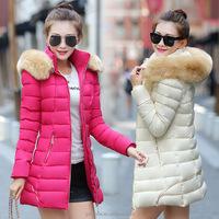 big plus size 2016 wholesale Trench korean style ladies dress jackets padding women winter long down cotton coats with fur hood