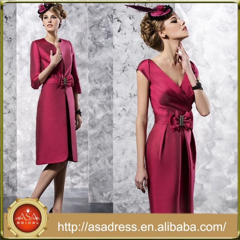 VL125 Latest Red V Neck Mother of The Bride Dresses with Jacket Cap Sleeve Vestidos Para La Madre De La Novia