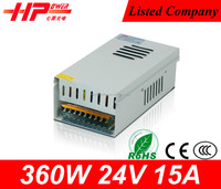 Guangzhou factory wholesale price CE RoHs approved waterproof constant voltage single output 15a 360w power controll unit 24v
