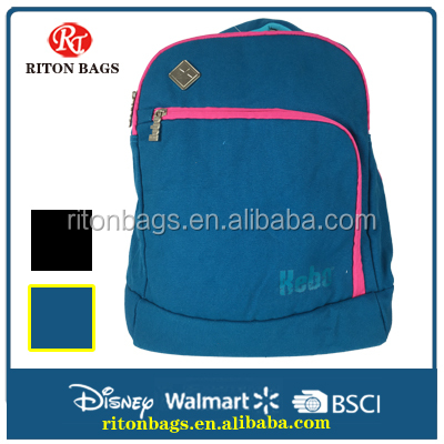 New Style Premium Quality Canvas School Backpack for High School with Delicate Colors