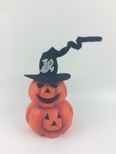 Ceramic double LED pumpkin with witch hat, color changing light,New Halloween product