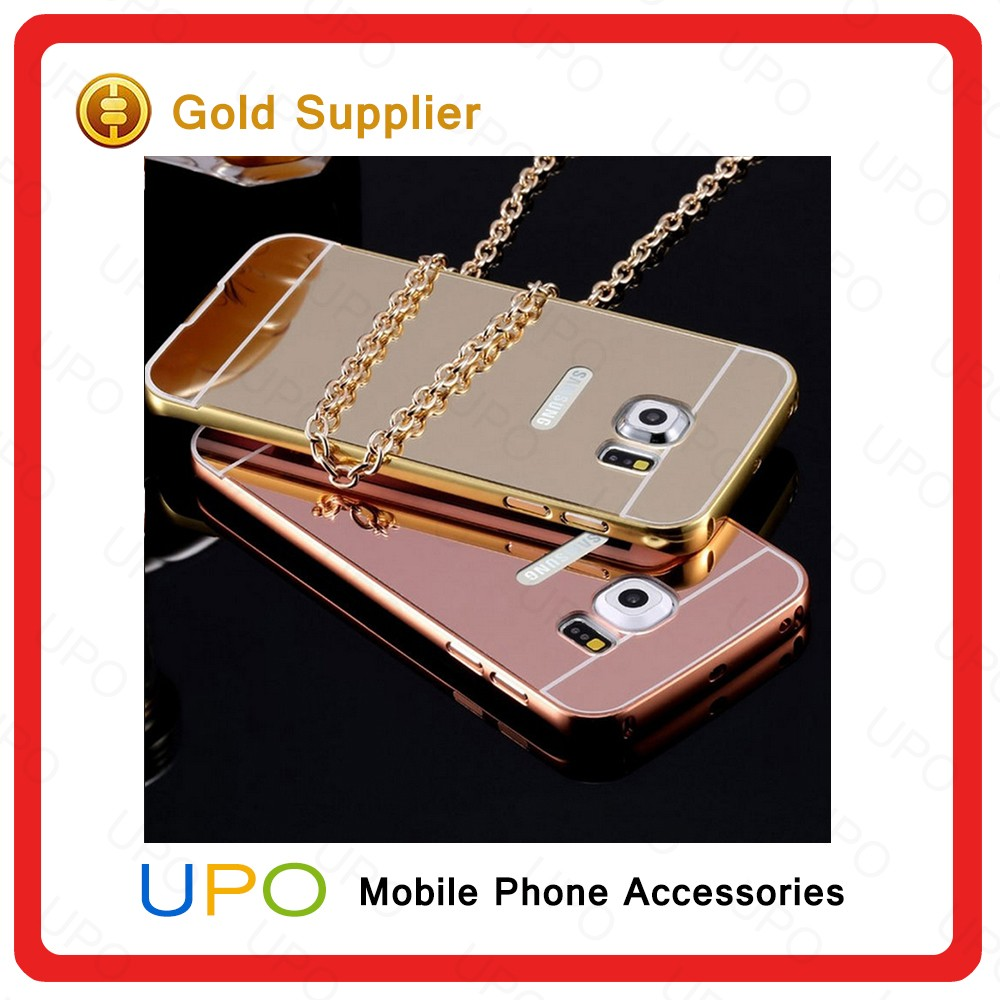 [UPO] Hot Selling Waterproof Luxury Aluminum Bumper Electroplating Mirror Back Cover Mobile Phone Case for Samsung Galaxy S7