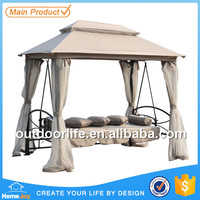 Wholesale garden swing bed, patio swing bed with mosquito net