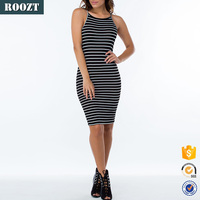 Womens Clothes Sexy Sundresses Stripe Sleeveless Bodycon Dress 2016