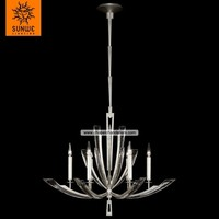 Modern design 6 lights Metal Crystal Platinized silver leaf candle cheap industrial pendant light