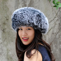 CX-E-17E Hand Knitted Snood Neck Warmer Genuine Fox Fur Headbands